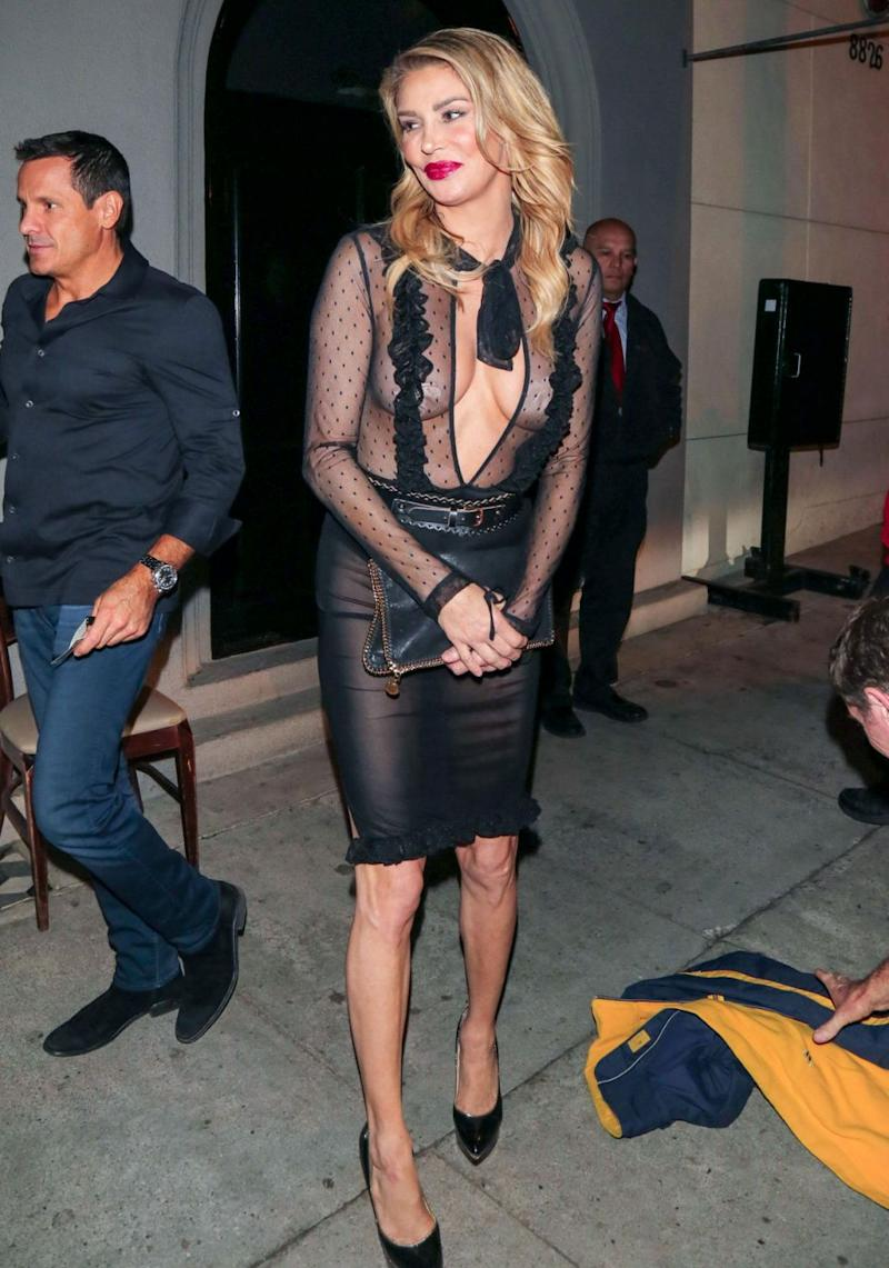 The Real Housewives Of Beverly Hills star Brandi Glanville had heads turning in Los Angeles this week, as she stepped out in a very racy dress, that left little to the imagination. Source: Getty