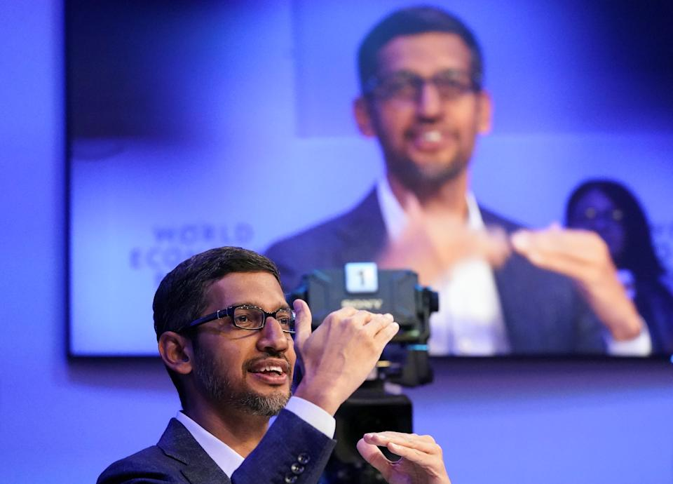 Sundar Pichai, Chief Executive Officer of Alphabet, gestures as he speaks during a session of the 50th World Economic Forum (WEF) annual meeting in Davos, Switzerland, January 22, 2020. REUTERS/Denis Balibouse