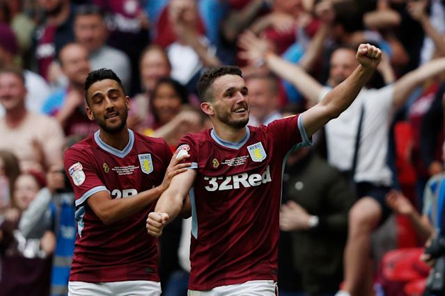 John McGinn celebrates after scoring Villa's second goal (Photo by Adrian DENNIS / AFP) / NOT FOR MARKETING OR ADVERTISING USE / RESTRICTED TO EDITORIAL USE
