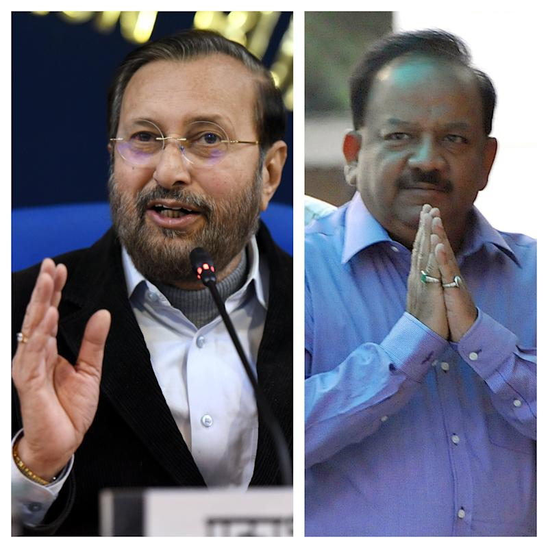 (Left) Minister for Environment, Forests and Climate Change Prakash Javadekar and (Right) current minister for Health and Family Welfare Dr Harshvardhan, who was the union environment minister from May 2017 to May 2019. (Photo: Getty Images)