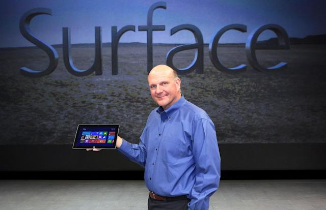 In this photo released by Microsoft, Steve Ballmer, Microsoft Chief Executive Officer, reveals Surface, a new family of PCs, for Windows, Monday, June 18, 2012, in Los Angeles. (Rene Macura/AP Images for Mircrosoft)