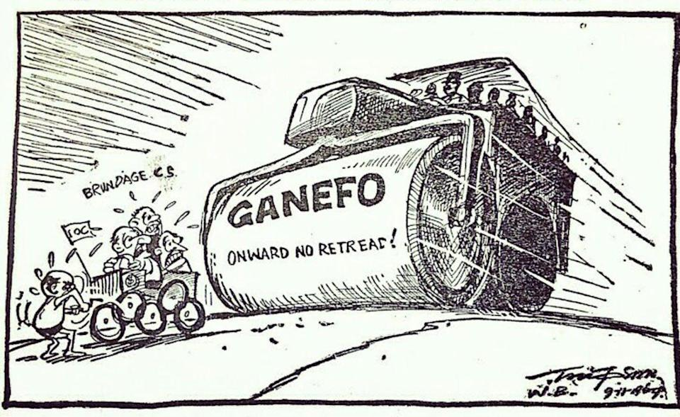 A cartoon that shows a steam roller chasing members of the IOC.