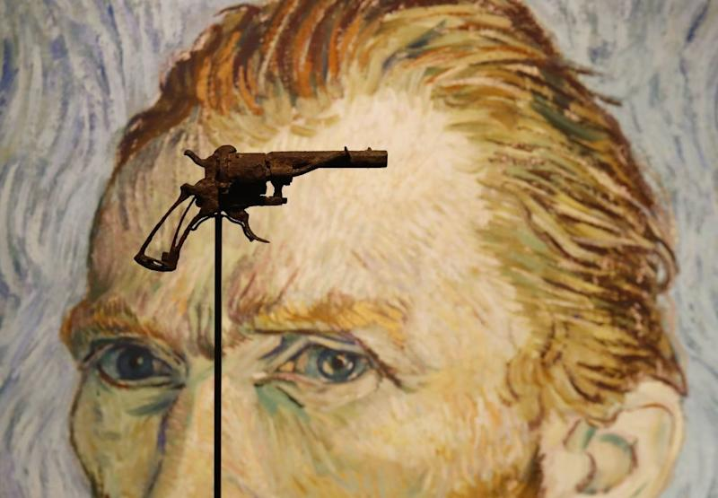 TOPSHOT - A revolver believed to be the gun Dutch 19th century painter Vincent Van Gogh would have used to kill himself on 27 July 1890 is on public display at Paris' Drouot auction house on June 19, 2019 before it goes under the hammer later today. Source: Getty