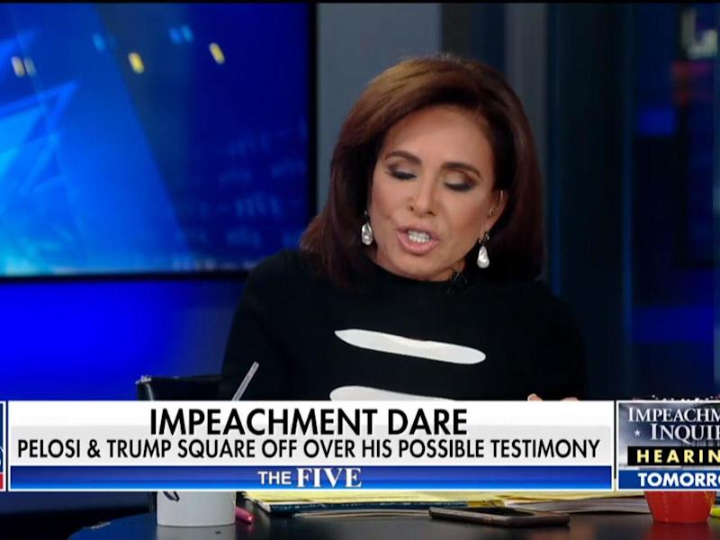 Ms Pirro quickly attempted to turn the conversation away from public support for impeachment and towards the political tactics of the president's rivals: Fox NEws