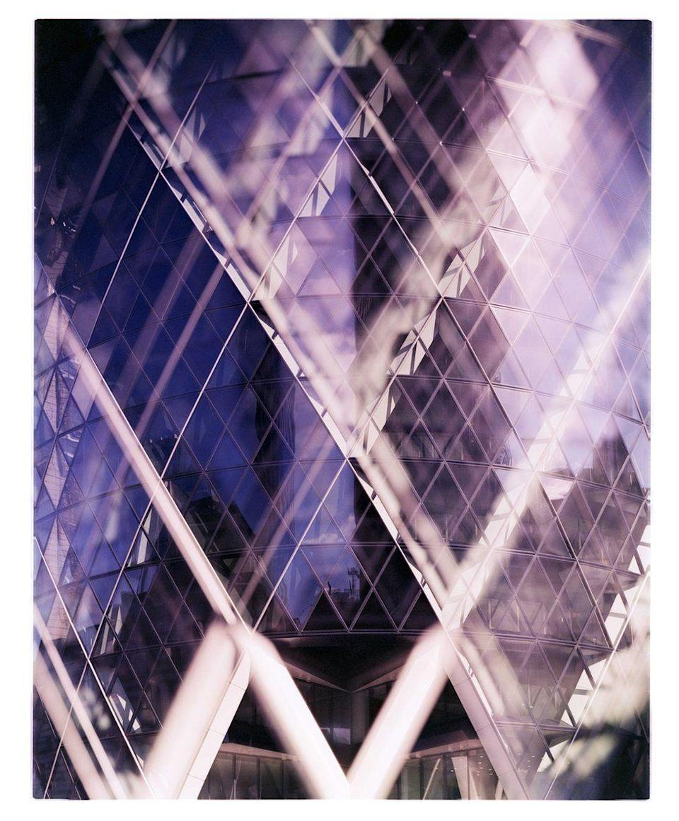 <p>By developing this image in the wrong chemicals, photographer James Tarry created this space-age purple image of London's Gherkin. (James Tarry) </p>