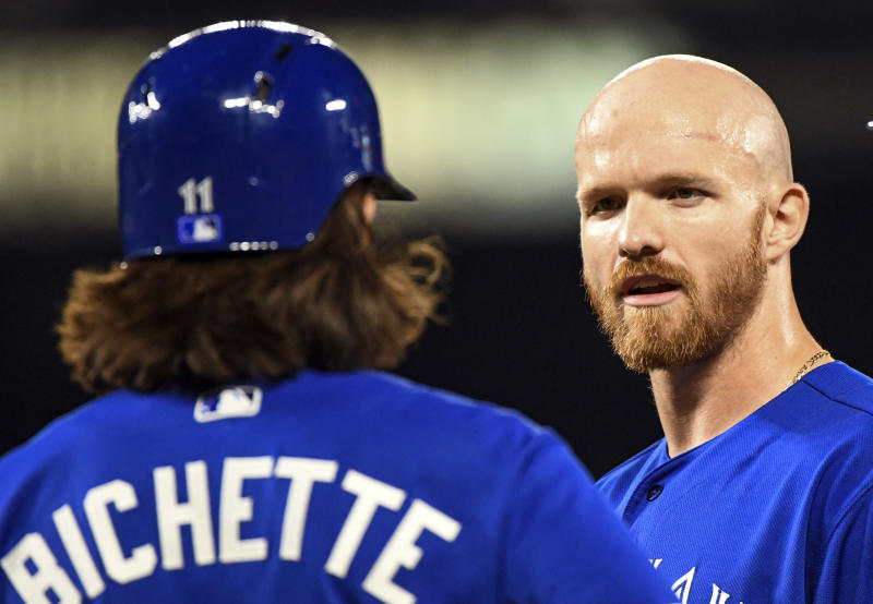 BALTIMORE, MD - AUGUST 2: Toronto Blue Jays right fielder Derek Fisher (20) talks with shortstop Bo Bichette (11) in the ninth inning during the game between the Toronto Blue Jays and the Baltimore Orioles on August 2, 2019, at Orioles Park at Camden Yards in Baltimore, MD. (Photo by Mark Goldman/Icon Sportswire via Getty Images)