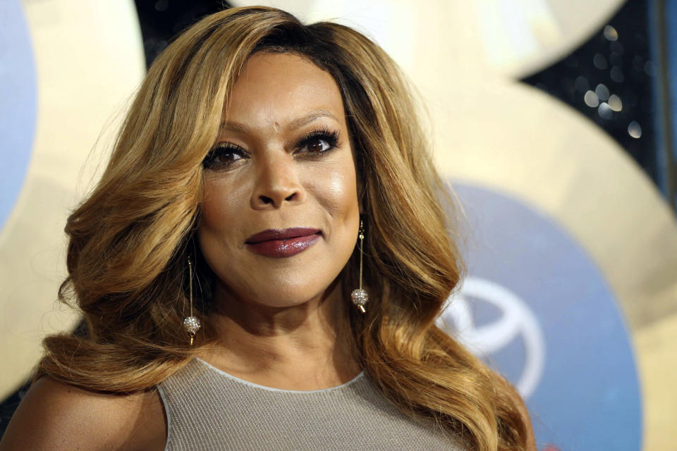 FILE - In this Nov. 7, 2014, file photo, TV talk show host Wendy Williams arrives during the 2014 Soul Train Awards in Las Vegas. A new authorized biopic and a documentary about Williams will debut on Lifetime on Saturday. (Photo by Omar Vega/Invision/AP, File)