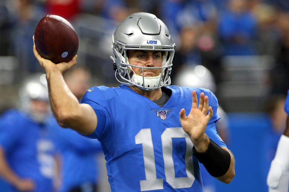 Detroit Lions quarterback David Blough (10) throws the ball during warmups before the first half of an NFL football game against the Kansas City Chiefs in Detroit, Michigan USA, on Sunday, September 29, 2019. (Photo by Amy Lemus/NurPhoto via Getty Images)