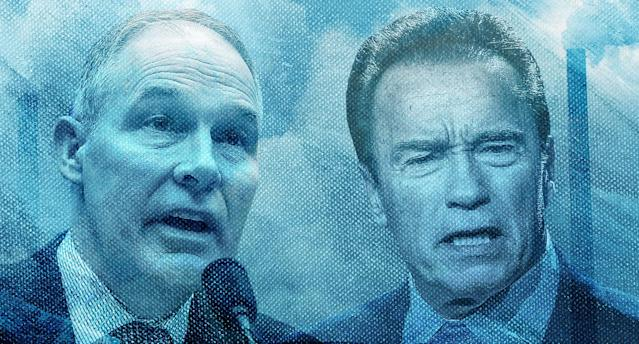 Arnold Schwarzenegger, right, has been harshly critical of EPA chief Scott Pruitt. (Yahoo News photo Illustration; photos: AP, Getty)