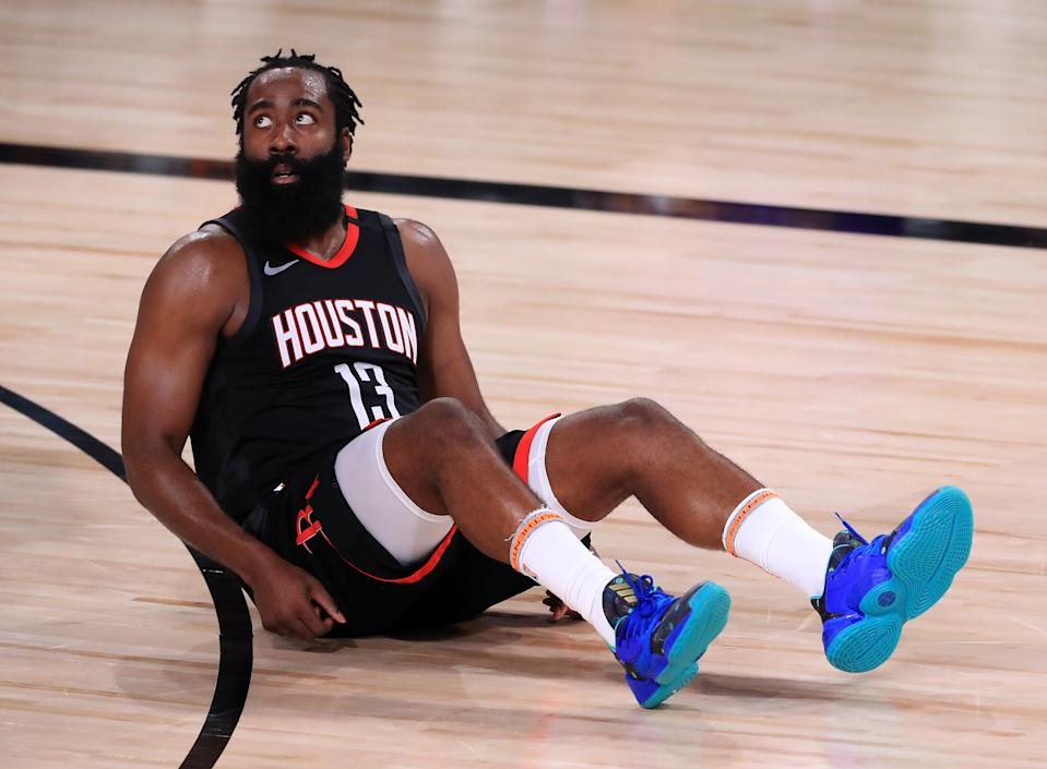 LAKE BUENA VISTA, FLORIDA - SEPTEMBER 12: James Harden #13 of the Houston Rockets reacts during the third quarter against the Los Angeles Lakers in Game Five of the Western Conference Second Round during the 2020 NBA Playoffs at AdventHealth Arena at the ESPN Wide World Of Sports Complex on September 12, 2020 in Lake Buena Vista, Florida. NOTE TO USER: User expressly acknowledges and agrees that, by downloading and or using this photograph, User is consenting to the terms and conditions of the Getty Images License Agreement. (Photo by Michael Reaves/Getty Images)