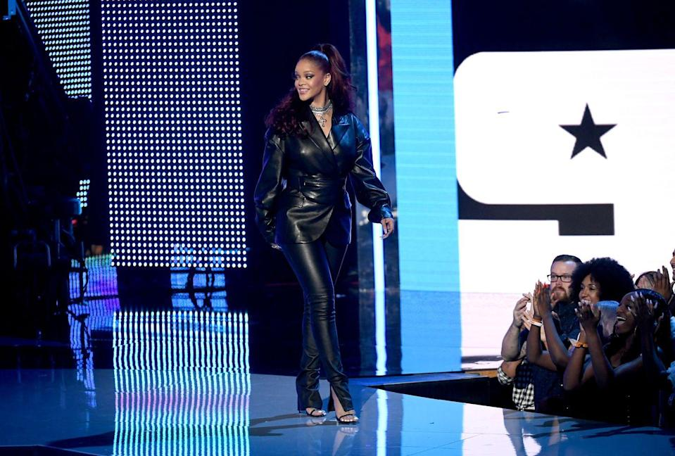 <p>In a leather suit by Fenty at the 2019 BET Awards. </p>