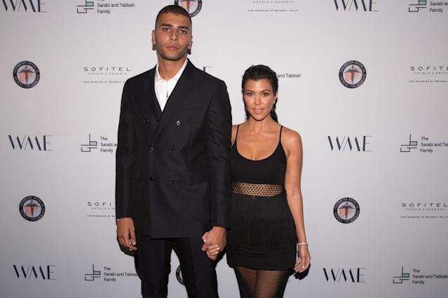 Younes Bendjima and Kourtney Kardashian. (Photo: Getty Images)
