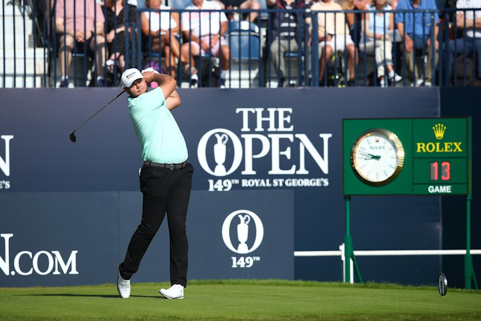 Jon Thomson tees off at the Open Championship. (Photo by Christopher Lee/Getty Images)