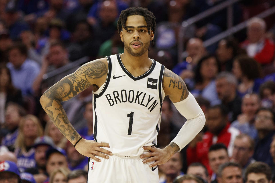 Brooklyn Nets' D'Angelo Russell in action during the second half in Game 2 of a first-round NBA basketball playoff series against the Philadelphia 76ers, Monday, April 15, 2019, in Philadelphia. 76ers won 145-123. (AP Photo/Chris Szagola)
