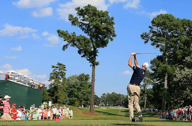 ATLANTA, GA - SEPTEMBER 22: Jim Furyk watches his tee shot on the 14th hole during the third round of the TOUR Championship by Coca-Cola at East Lake Golf Club on September 22, 2012 in Atlanta, Georgia. (Photo by Sam Greenwood/Getty Images)