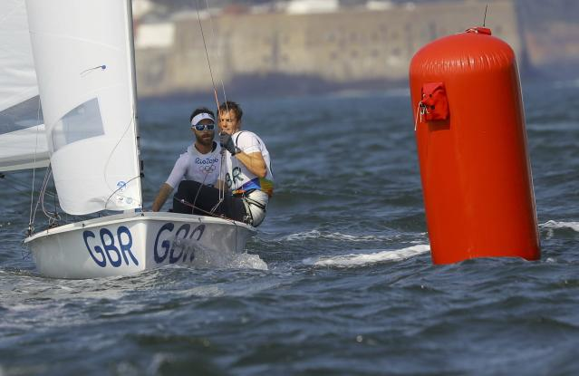 2016 Rio Olympics - Sailing - Final - Men's Two Person Dinghy - 470 - Medal Race - Marina de Gloria-Rio de Janeiro, Brazil - 18/08/2016. Luke Patience (GBR) of Britain and Chris Grube (GBR) of Britain compete. REUTERS/Brian Snyder FOR EDITORIAL USE ONLY. NOT FOR SALE FOR MARKETING OR ADVERTISING CAMPAIGNS.