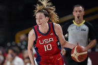 United States's Breanna Stewart (10) drives to the basket against Australia during a women's basketball quarterfinal game at the 2020 Summer Olympics, Wednesday, Aug. 4, 2021, in Saitama, Japan. (AP Photo/Eric Gay)