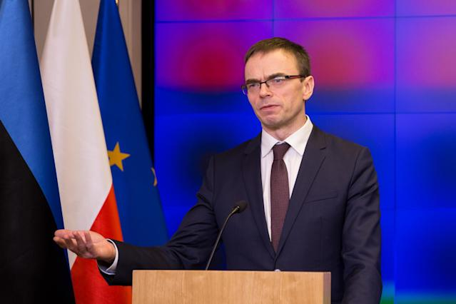 Sven Mikser, Estonia's minister of foreign affairs, at a press conference in Warsaw after meeting his Polish counterpart on Feb. 9 (Photo: Mateusz Wlodarczyk/NurPhoto via Getty Images)