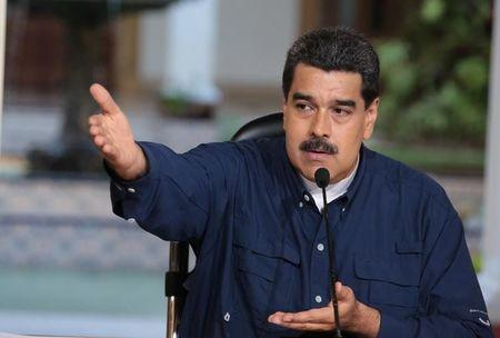 Venezuela's President Nicolas Maduro speaks during a meeting at Miraflores Palace in Caracas