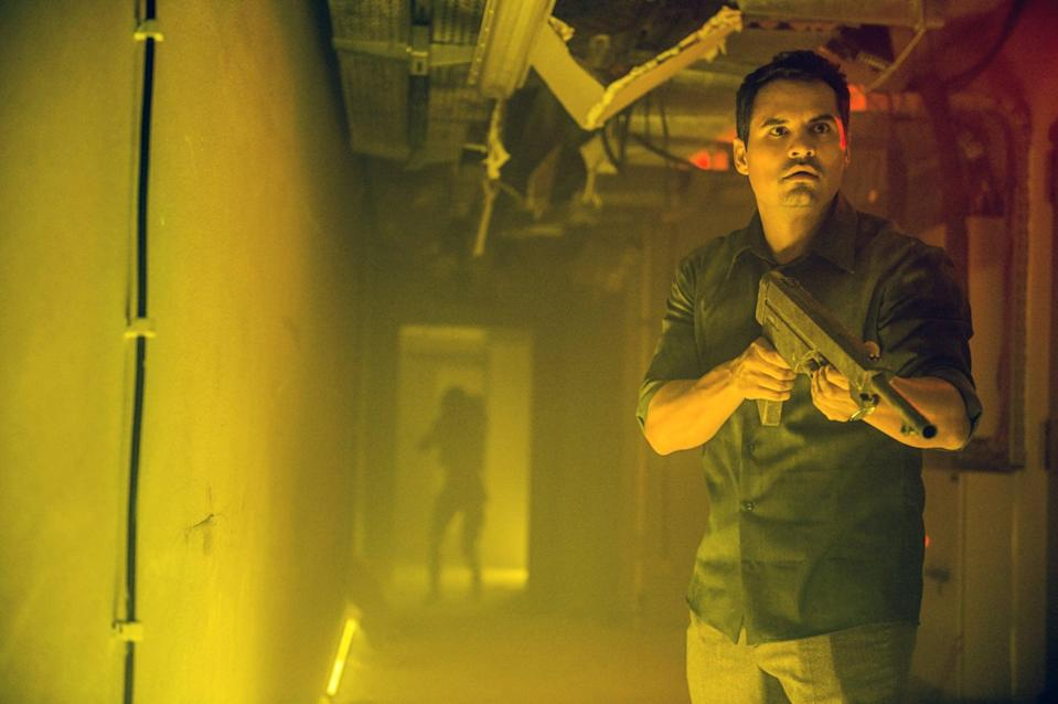 """<p>Michael Peña stars in this action-packed movie as Peter, an engineer haunted by recurring nightmares of an alien invasion. When Peter visits a psychiatrist for help, he meets a patient who has been having similar visions - and as it turns out, their shared visions have actually been a warning. </p> <p><a href=""""http://www.netflix.com/title/80236421"""" class=""""link rapid-noclick-resp"""" rel=""""nofollow noopener"""" target=""""_blank"""" data-ylk=""""slk:Watch Extinction on Netflix"""">Watch <strong>Extinction</strong> on Netflix</a>.</p>"""