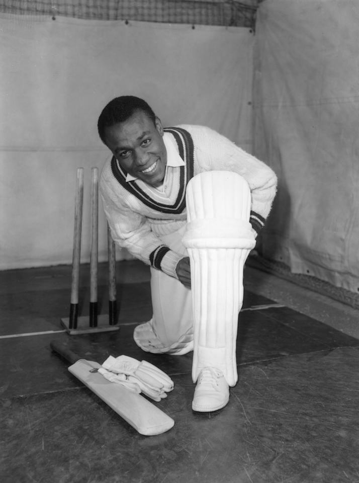 28th January 1963:  West Indies cricketer Conrad Hunte (1932 - 1999) padding up for some batting practice at Alf Glover's Cricket School, London.  (Photo by Roger Jackson/Central Press/Getty Images)