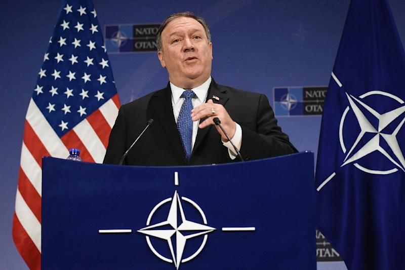 New US Secretary of State Mike Pompeo has taken aim at Germany over its defence spending, using his first NATO meeting to push President Donald Trump's call for allies to shoulder a bigger burden (AFP Photo/JOHN THYS)