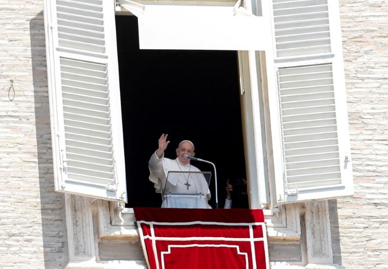 FILE PHOTO: Pope Francis leads the Regina Coeli prayer for the first time in three months at the Vatican