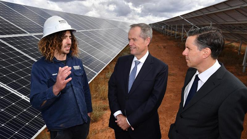 Mr Shorten visited the SSE Solar Farm outside of Adelaide with Labor's energy spokesman Mark Butler