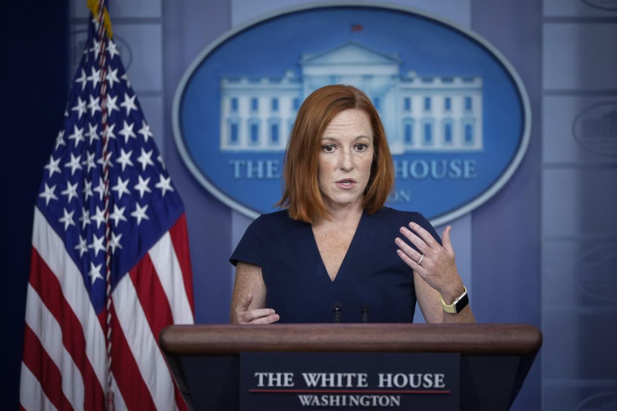 White House Press Secretary Jen Psaki speaks during the daily press briefing at the White House on August 24, 2021 in Washington, DC. Psaki took questions regarding the ongoing evacuation in Afghanistan. (Drew Angerer/Getty Images)