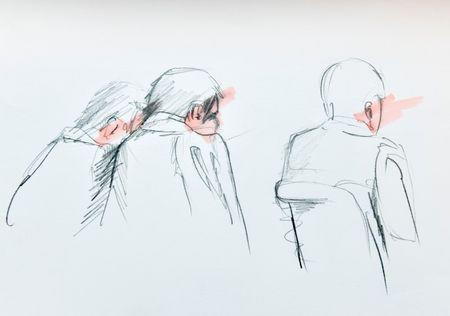 An artist's impression of Uzbek national Rakhmat Akilov (C), the prime suspect in Friday's truck attack together with his defence counsels during Tuesday's remand hearing in the Stockholm District Court.