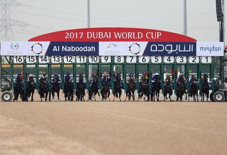 REFILE - CORRECTING BYLINE Horse Racing - Dubai World Cup - Meydan Racecourse, Dubai - 25/3/17 - Riders compete at the start of the fourth race. REUTERS/Stringer