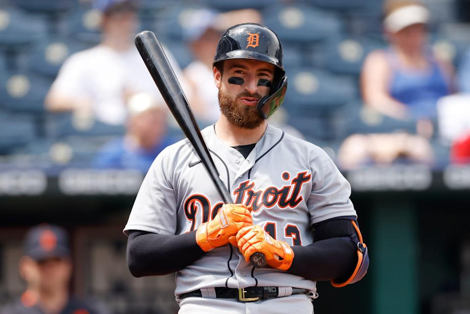 Detroit Tigers' Eric Haase reacts after a called strike during the sixth inning of a baseball game against the Kansas City Royals at Kauffman Stadium in Kansas City, Mo., Sunday, July 25, 2021.