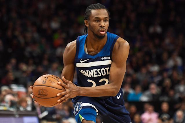"""<a class=""""link rapid-noclick-resp"""" href=""""/nba/teams/minnesota/"""" data-ylk=""""slk:Timberwolves"""">Timberwolves</a> star <a class=""""link rapid-noclick-resp"""" href=""""/nba/players/5292/"""" data-ylk=""""slk:Andrew Wiggins"""">Andrew Wiggins</a>' Los Angeles home was allegedly robbed earlier this month, though the scene was described as """"amateur hour."""" (Hannah Foslien/Getty Images)"""