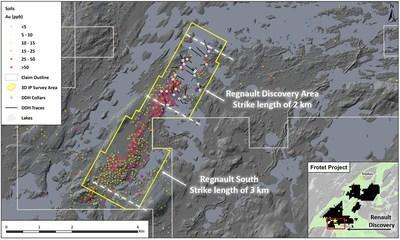 Figure 2. IP survey outline along the Regnault trend (CNW Group/Kenorland Minerals Ltd.)