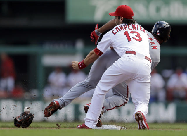 St. Louis Cardinals second baseman Matt Carpenter (13) loses the ball and his glove as Washington Nationals' Denard Span steals second base during the first inning of a baseball game Wednesday, Sept. 25, 2013, in St. Louis. (AP Photo/Jeff Roberson)