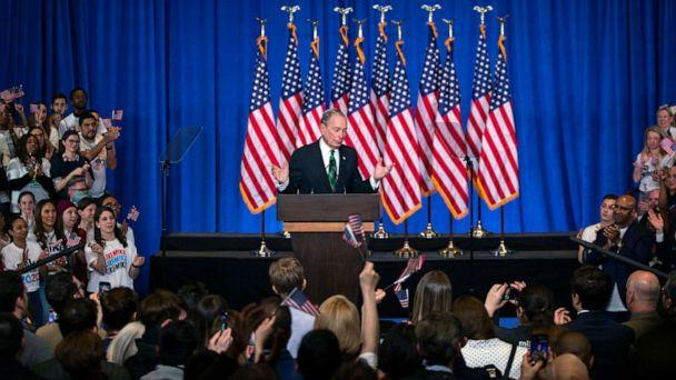 PHOTO: Former Democratic presidential candidate Mike Bloomberg speaks to supporters as he announces the suspension of his campaign and his endorsement of former Vice President Joe Biden for president in New York, March 4, 2020. (Eduardo Munoz Alvarez/AP, FILE)