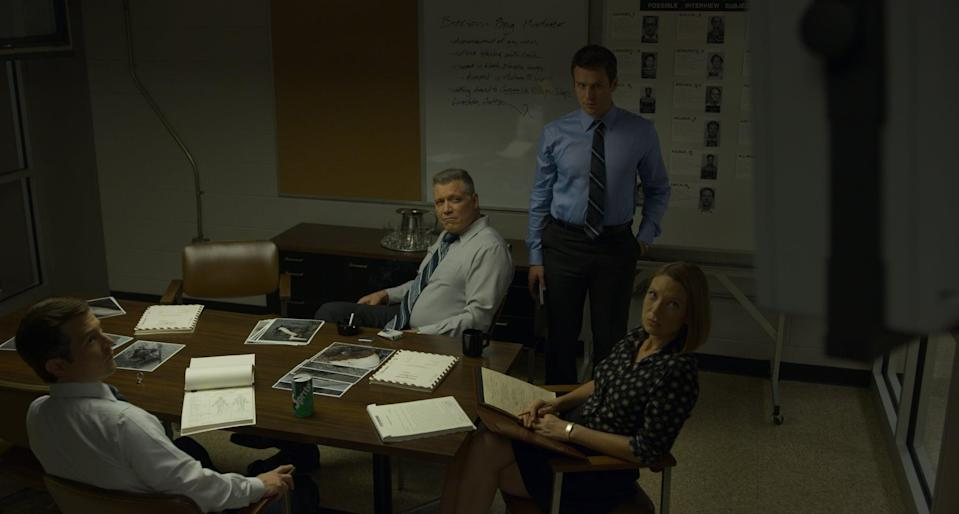 "<p>Based on the true stories of retired FBI agent John E. Douglas, <a href=""https://www.popsugar.com/Mindhunter"" class=""link rapid-noclick-resp"" rel=""nofollow noopener"" target=""_blank"" data-ylk=""slk:Mindhunter""><strong>Mindhunter</strong></a> stars Jonathan Groff as Holden Ford. Holden and his colleagues begin studying serial killers at the bureau, which brings them close to murderers such as Charles Manson and Edmund Kemper. The second season takes on the tragic case of the <a href=""https://www.popsugar.com/entertainment/Wayne-Williams-Serial-Killer-True-Story-46510994"" class=""link rapid-noclick-resp"" rel=""nofollow noopener"" target=""_blank"" data-ylk=""slk:Atlanta child murders"">Atlanta child murders</a>.</p> <p><a href=""https://www.netflix.com/title/80114855"" class=""link rapid-noclick-resp"" rel=""nofollow noopener"" target=""_blank"" data-ylk=""slk:Watch Mindhunter on Netflix."">Watch <strong>Mindhunter</strong> on Netflix. </a></p>"