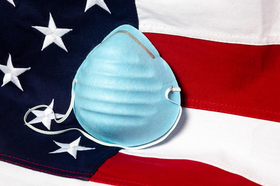 Close up of a respiratory mask with the USA flag in the background