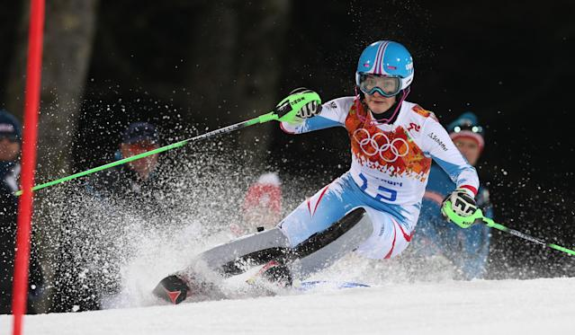 Austria's Kathrin Zettel skis in the second run of the women's slalom to win the bronze medal at the Sochi 2014 Winter Olympics, Friday, Feb. 21, 2014, in Krasnaya Polyana, Russia. (AP Photo/Luca Bruno)