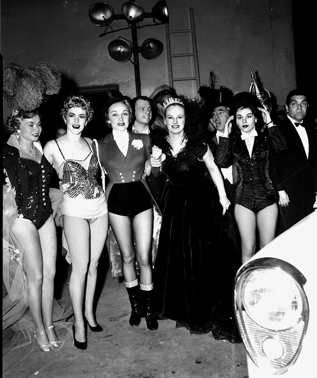 <p>From left to right: Buff Cobb, Mary Sinclair, actress Marlene Dietrich, and Faye Emerson appear at the Ringling Brothers and Barnum & Bailey Circus at New York's Madison Square Garden for a benefit performance for United Cerebral Palsy of New York City, April 2, 1954. (AP Photo/Matty Zimmerman) </p>