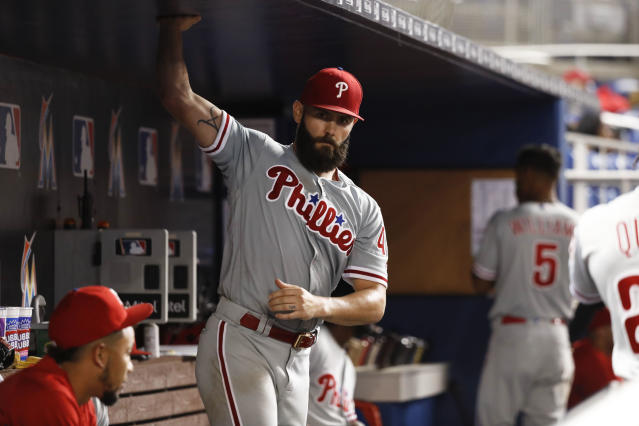 Philadelphia Phillies starting pitcher Jake Arrieta in action during a baseball game against the Miami Marlins, Tuesday, Sept. 4, 2018, in Miami. (AP Photo/Brynn Anderson)