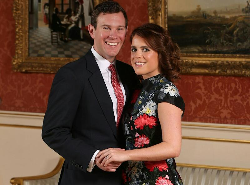 britain s princess eugenie of york with her fiance jack brooksbank at buckingham palace after the announcement