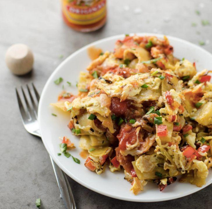 "<strong>Get the <a href=""https://umamigirl.com/easy-migas-tex-mex-scrambled-eggs/"" target=""_blank"">Easy Migas (Tex-Mex Scrambled Eggs And Tortillas) recipe</a>&nbsp;from Umami Girl</strong>"