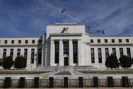 FILE PHOTO: The Federal Reserve Board building on Constitution Avenue in Washington, U.S., March 27, 2019.  REUTERS/Brendan McDermid/File Photo