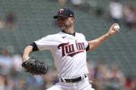 Minnesota Twins' pitcher J.A. Happ throws against the Cleveland Indians during the first inning of a baseball game, Sunday, June 27, 2021, in Minneapolis. (AP Photo/Stacy Bengs)