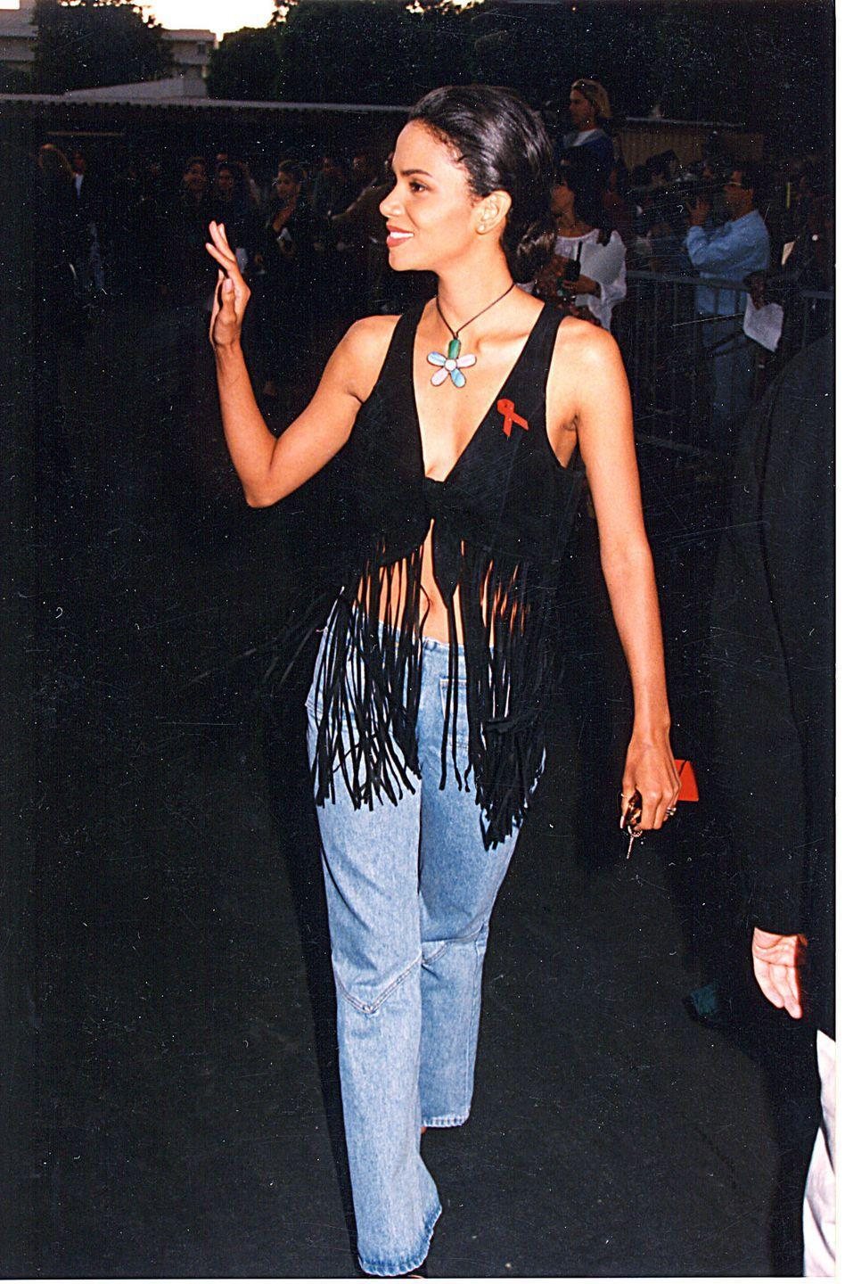 <p>Halle Berry wore a similar pair for the 1993 MTV Movie Awards.</p>