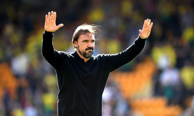 Norwich manager Daniel Farke acknowledges fans after the final whistle
