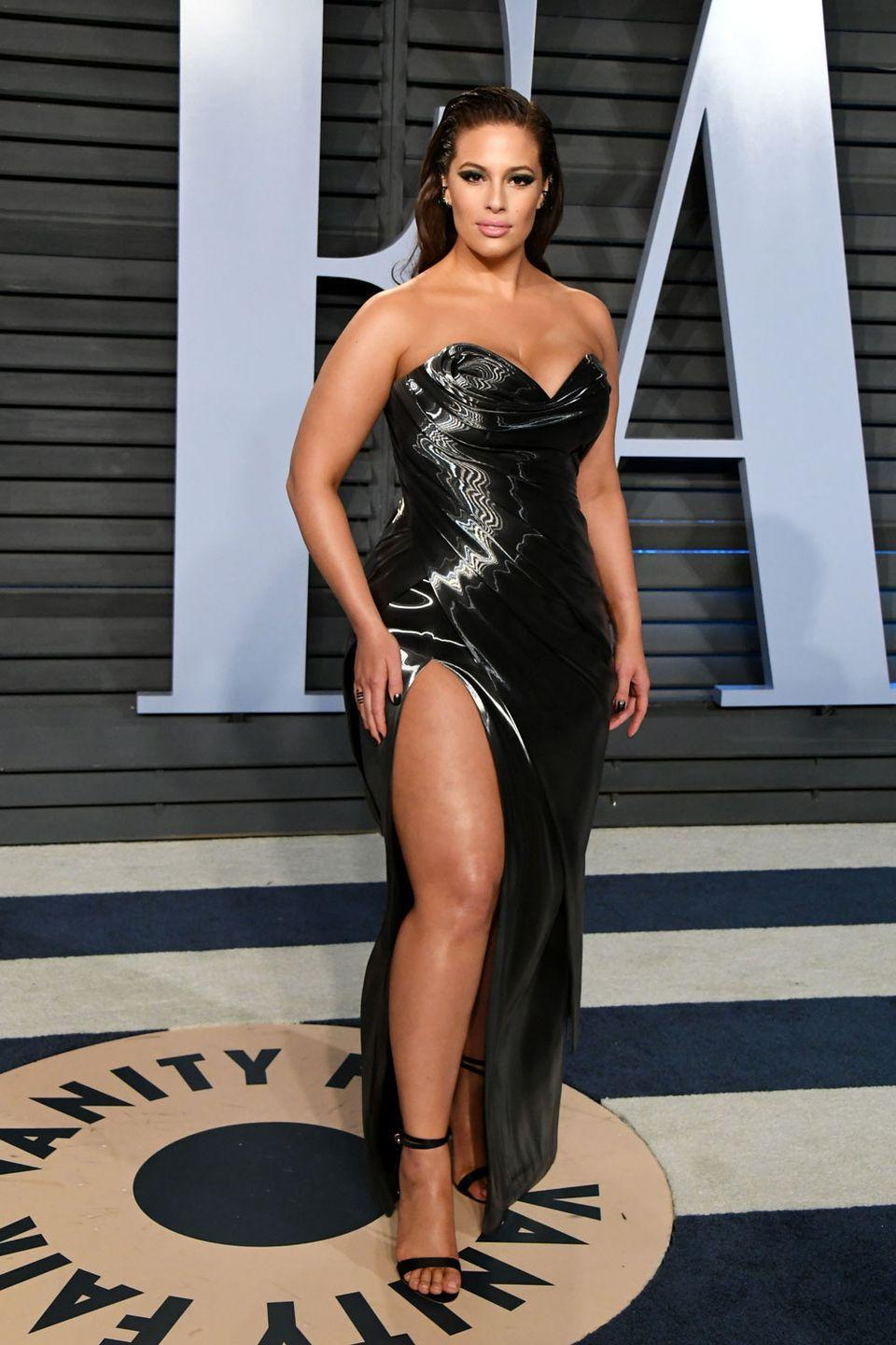 <p>At the 2018 Vanity Fair Oscars Party: Ashley looked incredible at Vanity Fair's 2018 Oscar party in this grey metallic dress with thigh-high split and corset style top. </p>