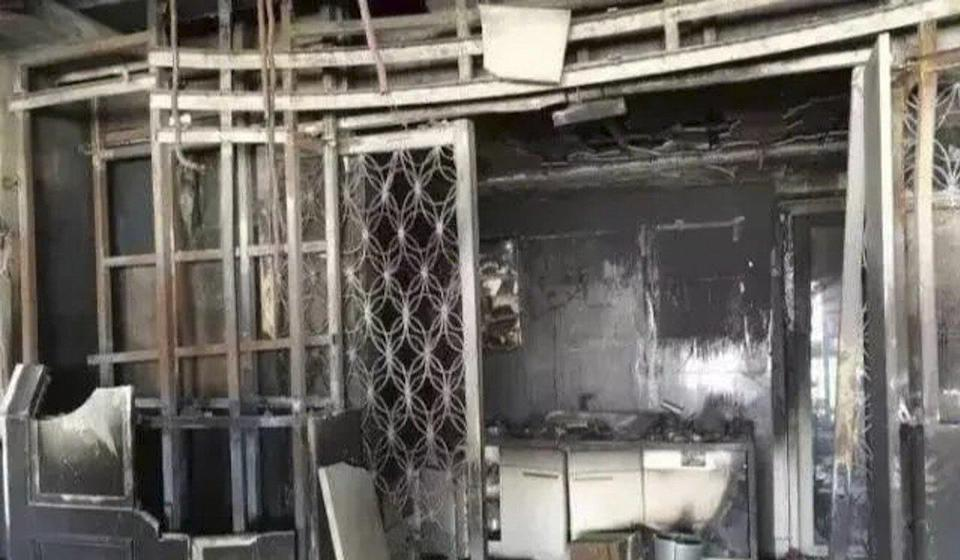 The aftermath of the fire in Lin's flat. Photo: Handout