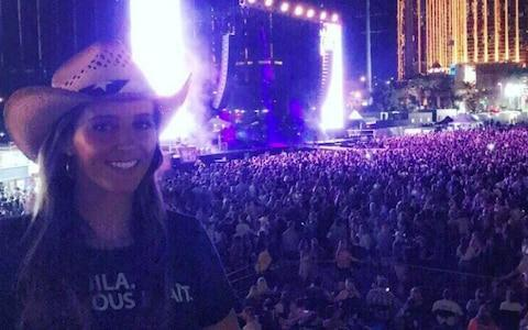 <span>Laura Robson pictured in the crowd at the Las Vegas country music festival</span> <span>Credit: Laura Robson/Snapchat </span>
